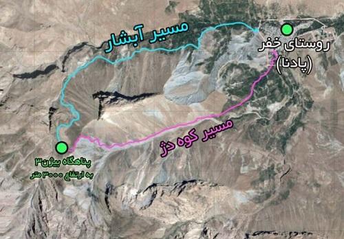 نقشه قله قاش مستان