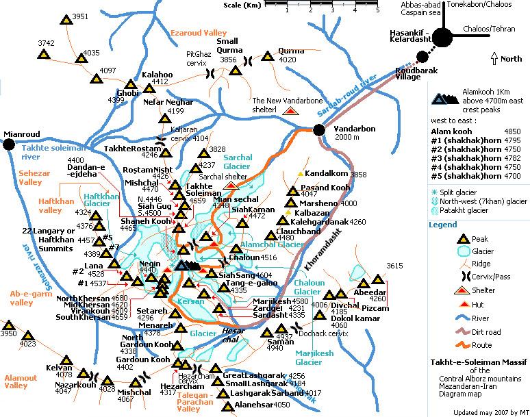 علم کوه روی نقشه